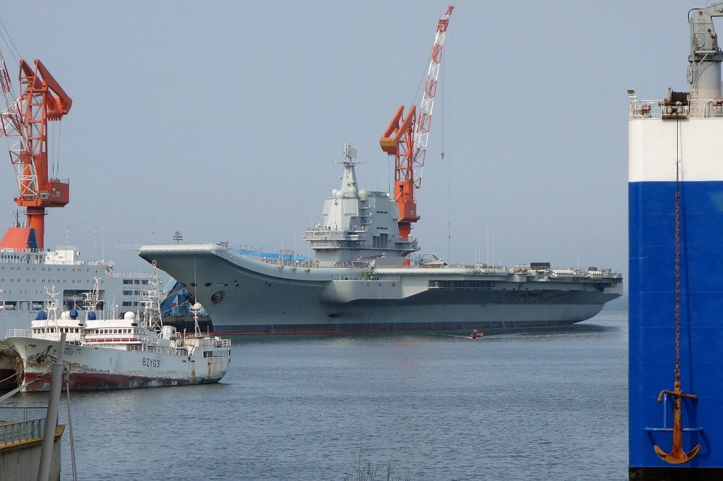 Shandong moored at Dalian in 2019 prior to commissioning